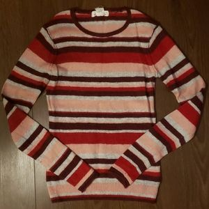 H&M striped warm knit sweater pink red grey maroon